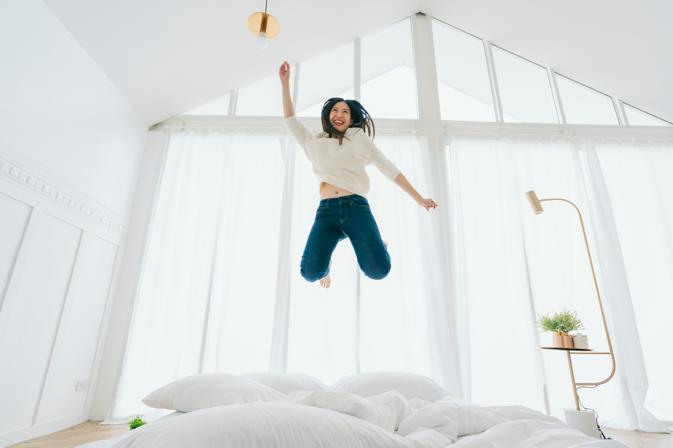 jumping on mattress